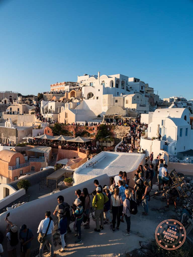 oia sunset crowd view from the castle are pretty bad