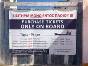 paros to antiparos greece ticket prices board