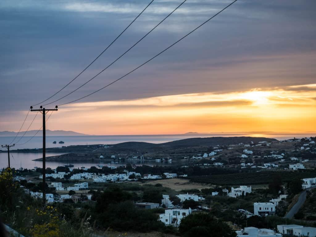 paros 2 day itinerary with sunset of parikia below