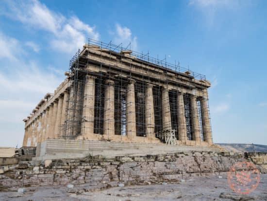 parthenon acropolis ruins scaffolding athens