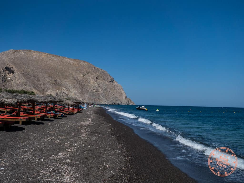 where to go in santorini perissa black sand beach