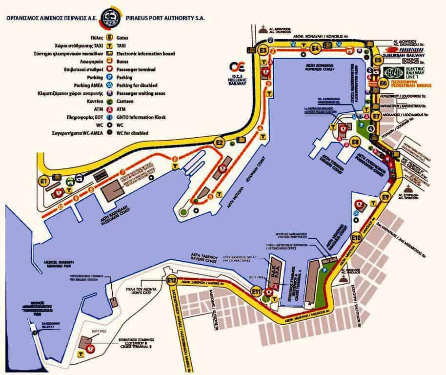 piraeus port cruise terminals and gates map