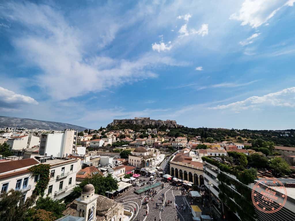 a for athens rooftop bar view of acropolis
