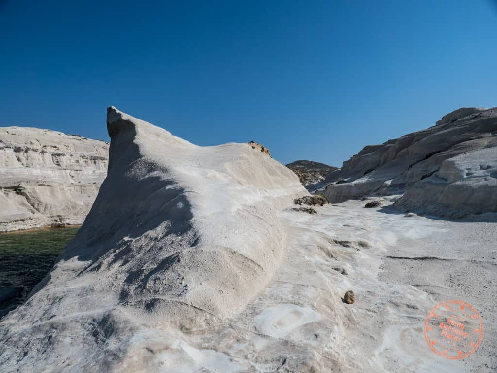 sarakiniko lunar surface beach in milos greece