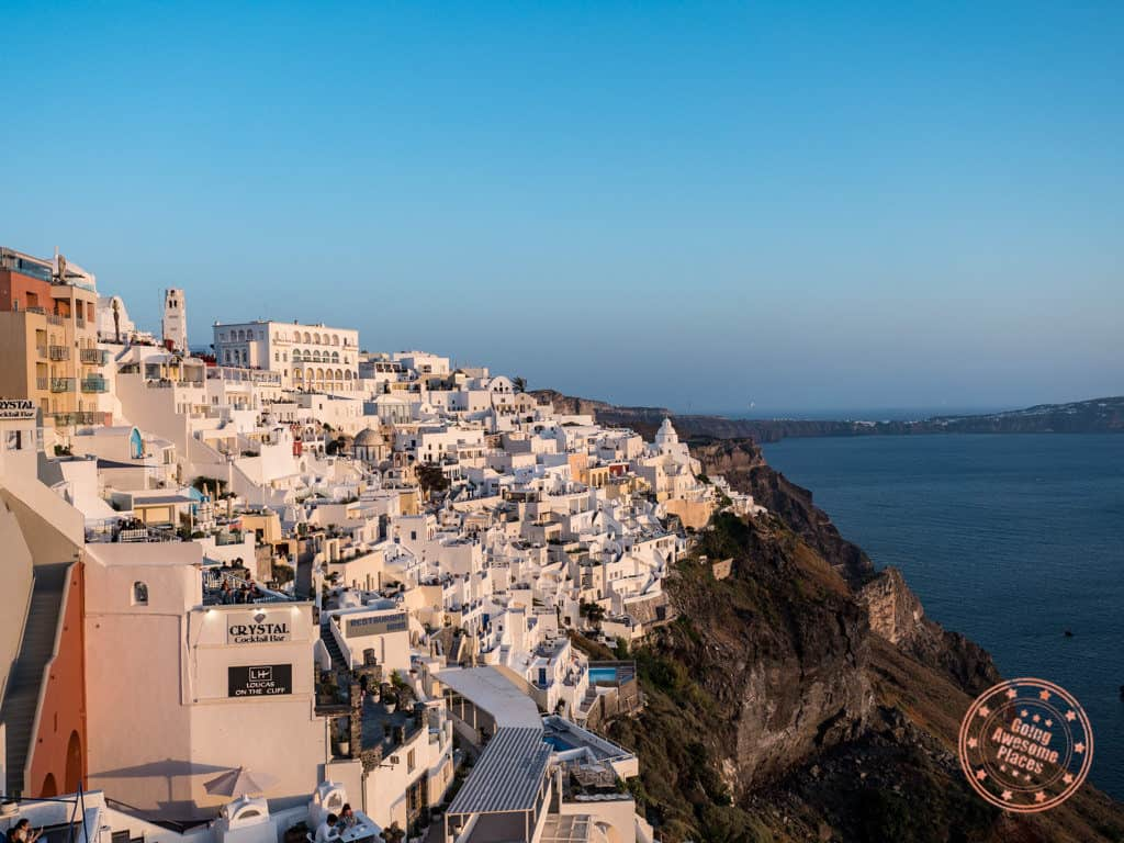 sunset in fira santorini in 14 day greek islands itinerary