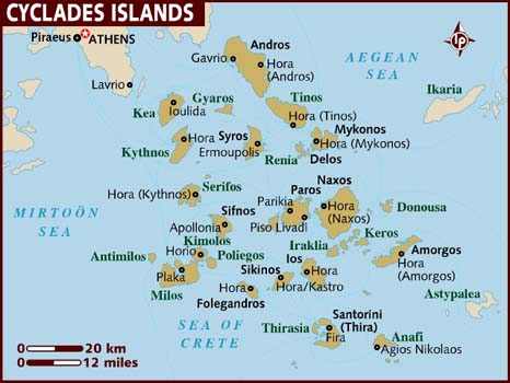 the cyclades greek islands map