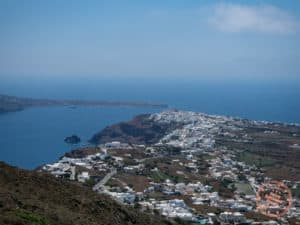 view down to oia hike trail