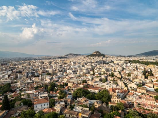 view from acropolis hill in athens