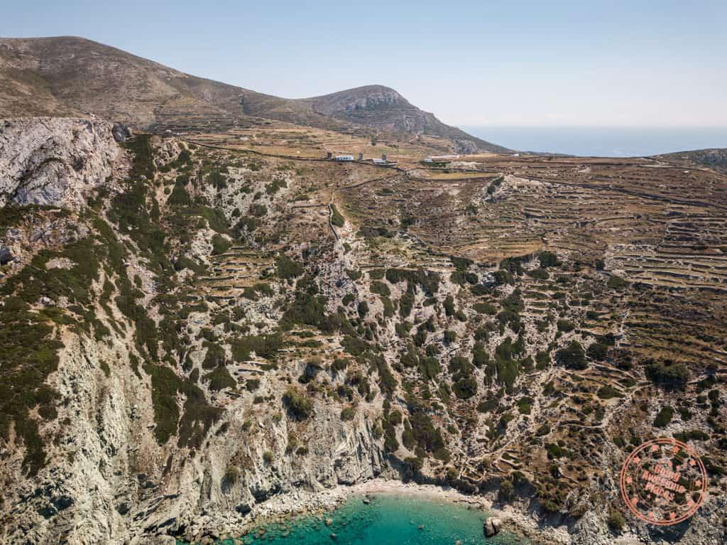 vorina beach in folegandros aerial