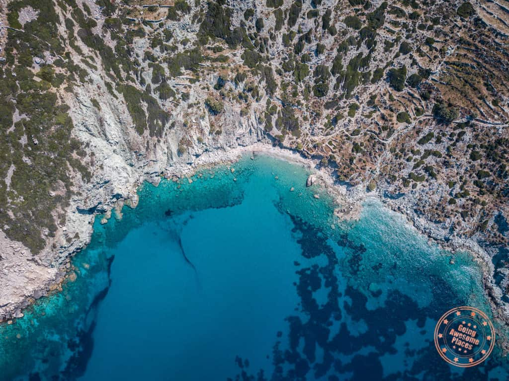 vorian beach folegandros greece aerial photo