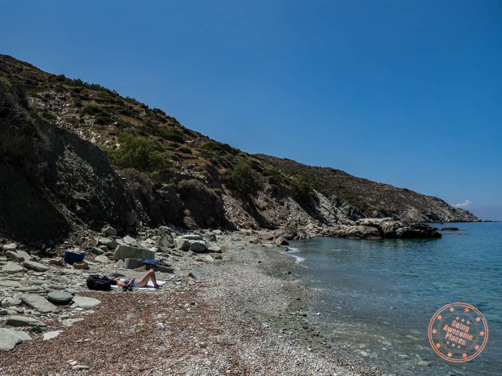 secluded vorina beach in folegandros greece