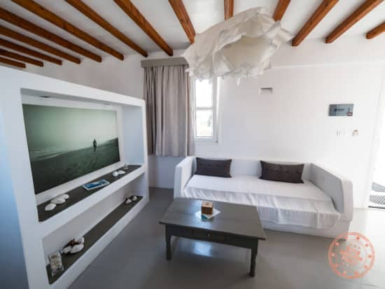 giannouls hotel milos living space with couch