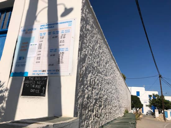 bus schedule sign location hora folegandros