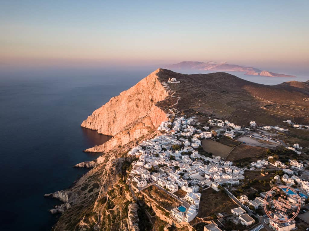 folegandros 3 day itinerary aerial sunset over chora cliffs