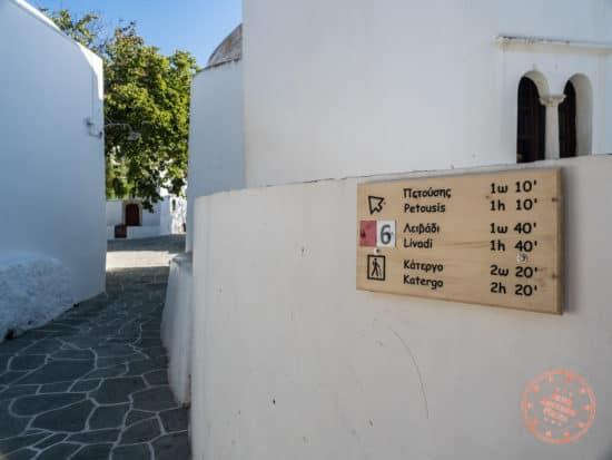 hiking trail signage in chora folegandros