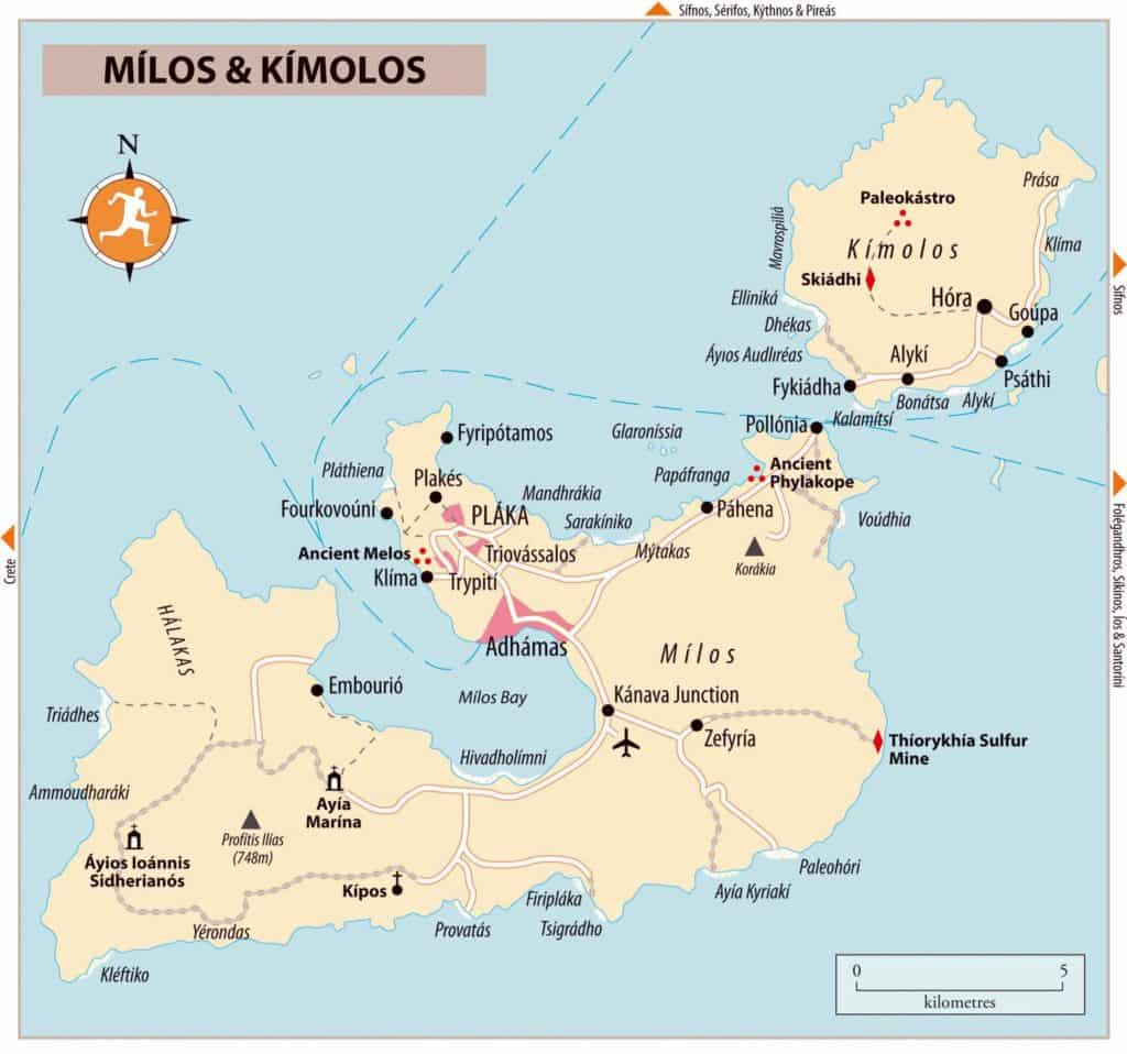 milos greece 3 day itinerary map
