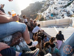 packed crowds oia sunset