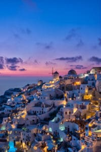 perfect oia sunset at blue hour in santorini greek islands