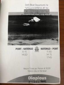 port to katergo beach ferry schedule timetable