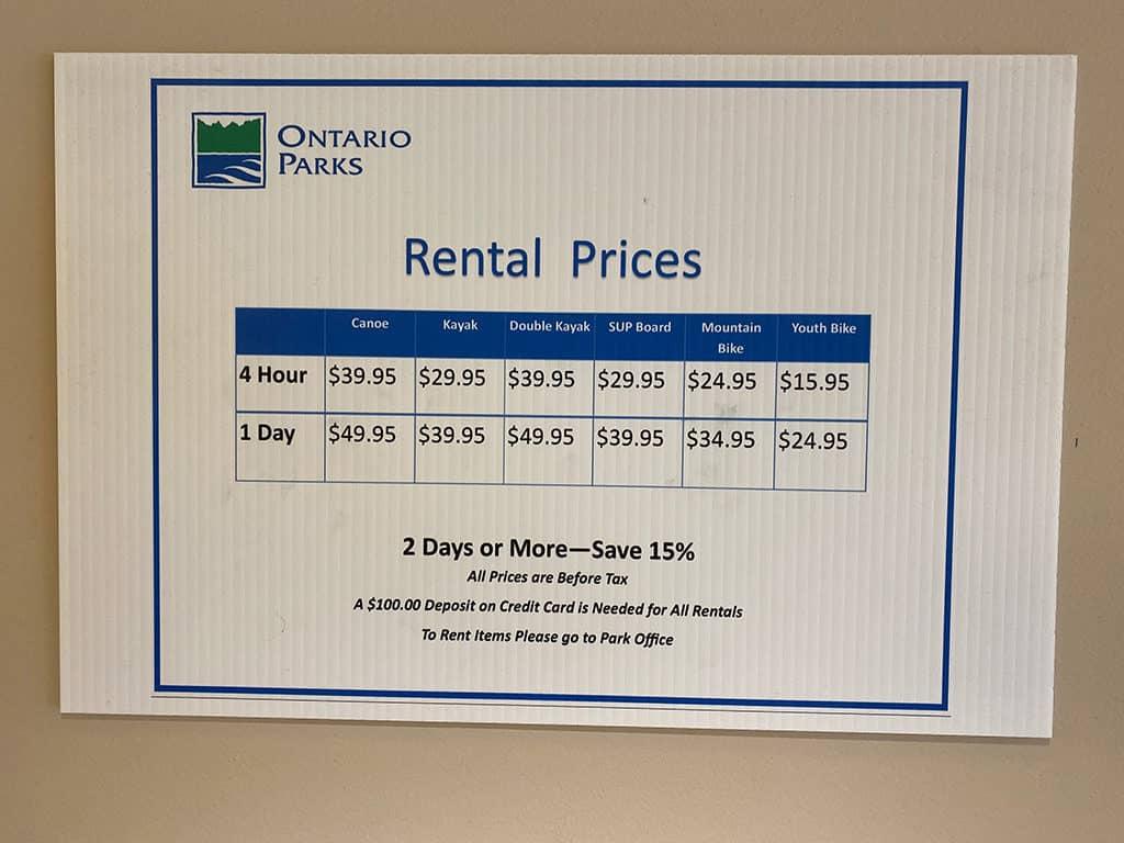 restoule rental price chart