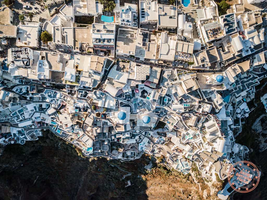santorini from the sky aerial greece itinerary