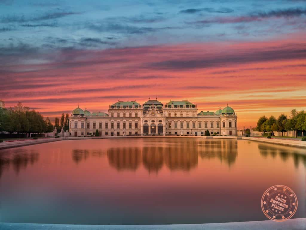 belvedere palace sunset reflections