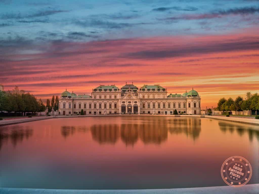 belvedere palace sunset reflections