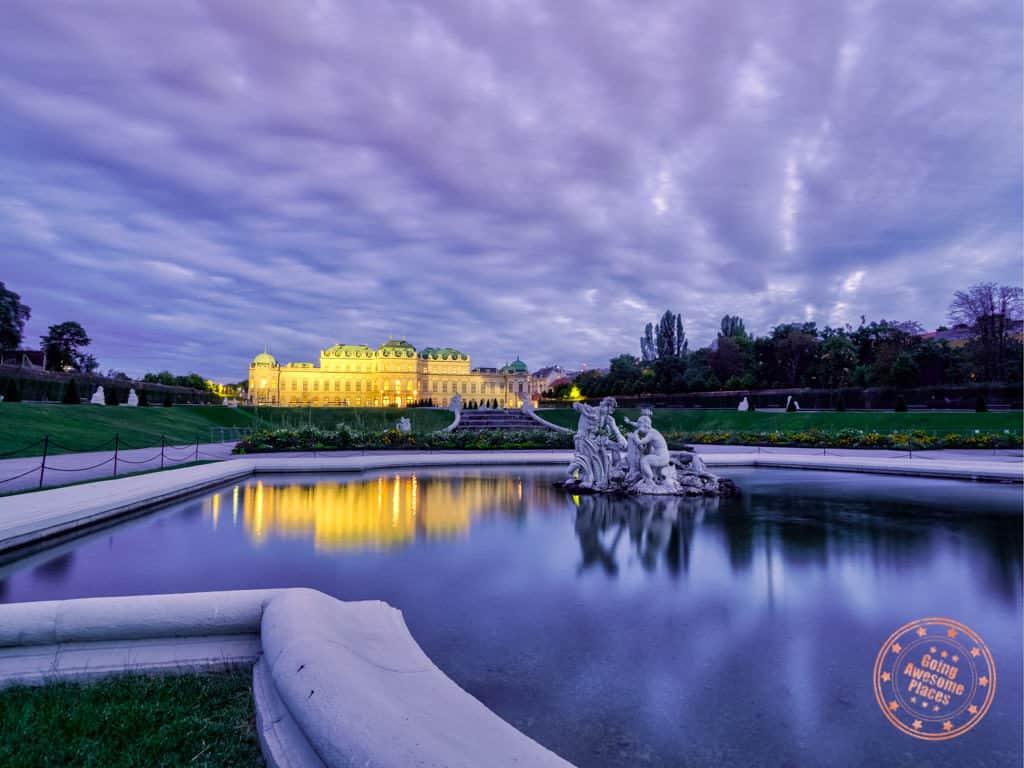 belvedere vienna sunset in austria
