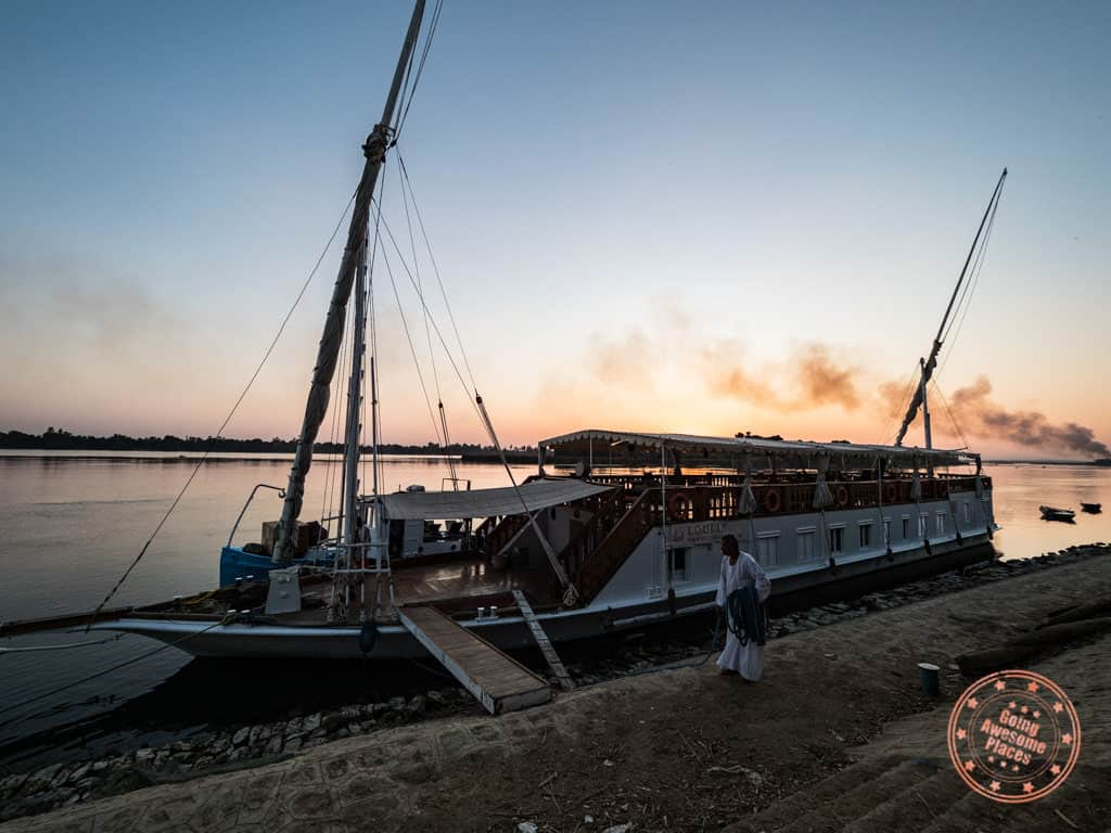 boarding dahabiya loulia nile cruise egypt