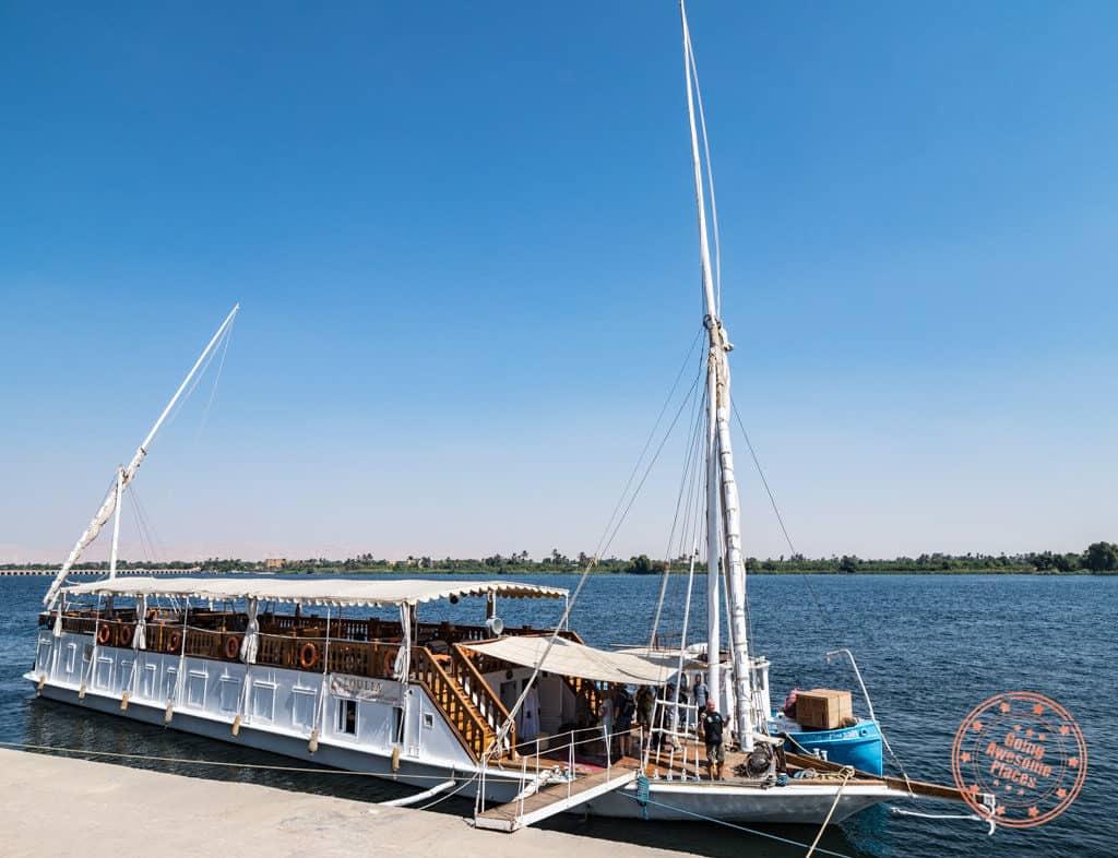 boarding dahabiya nile cruise loulia with djed egypt travel