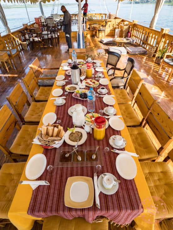 breakfast spread on dahabiya nile cruise