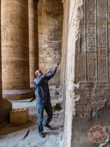 egyptologist abdulla yosef djed egypt travel at temple of edfu