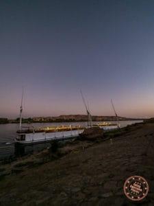 docked dahabiya loulia cruise at sunset