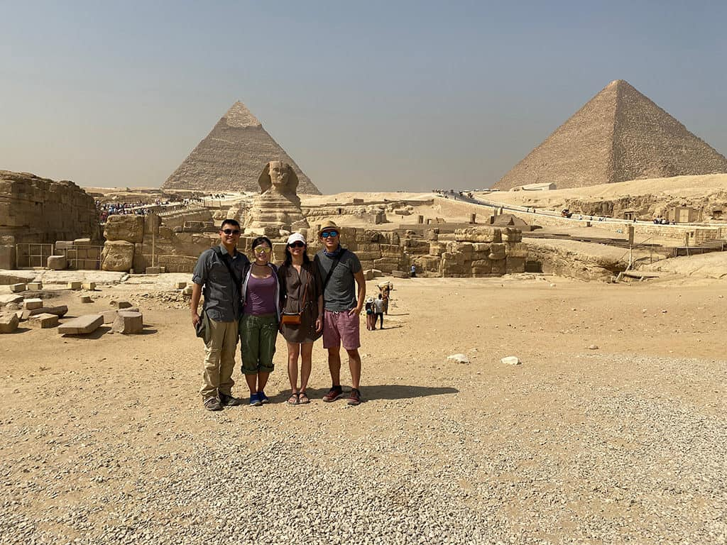 egypt packing list group photo giza pyramids