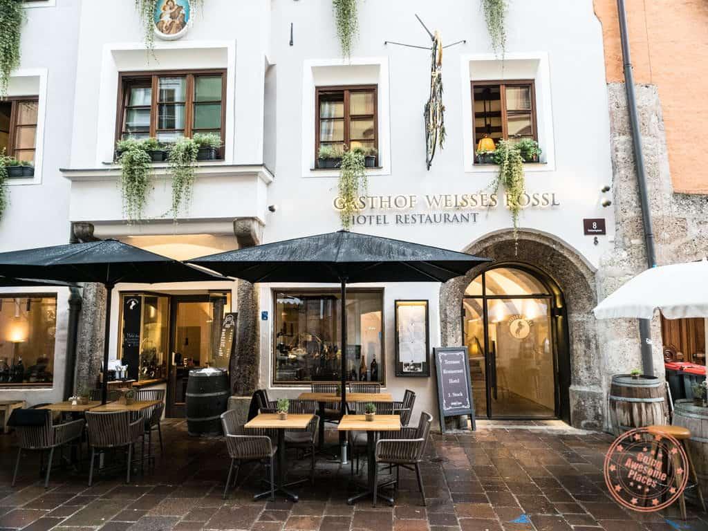 gasthof weisses roessl restaurant entrance