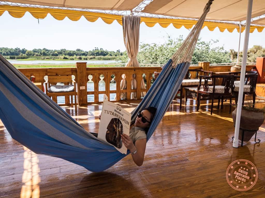 hammock on dahabiya nile cruise
