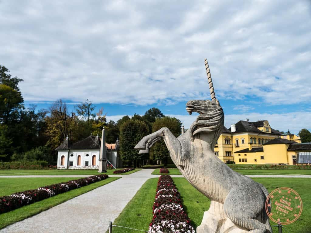 hellbrunn palace unicorn statue