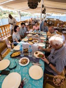 lunch aboard dahabiya nile cruise