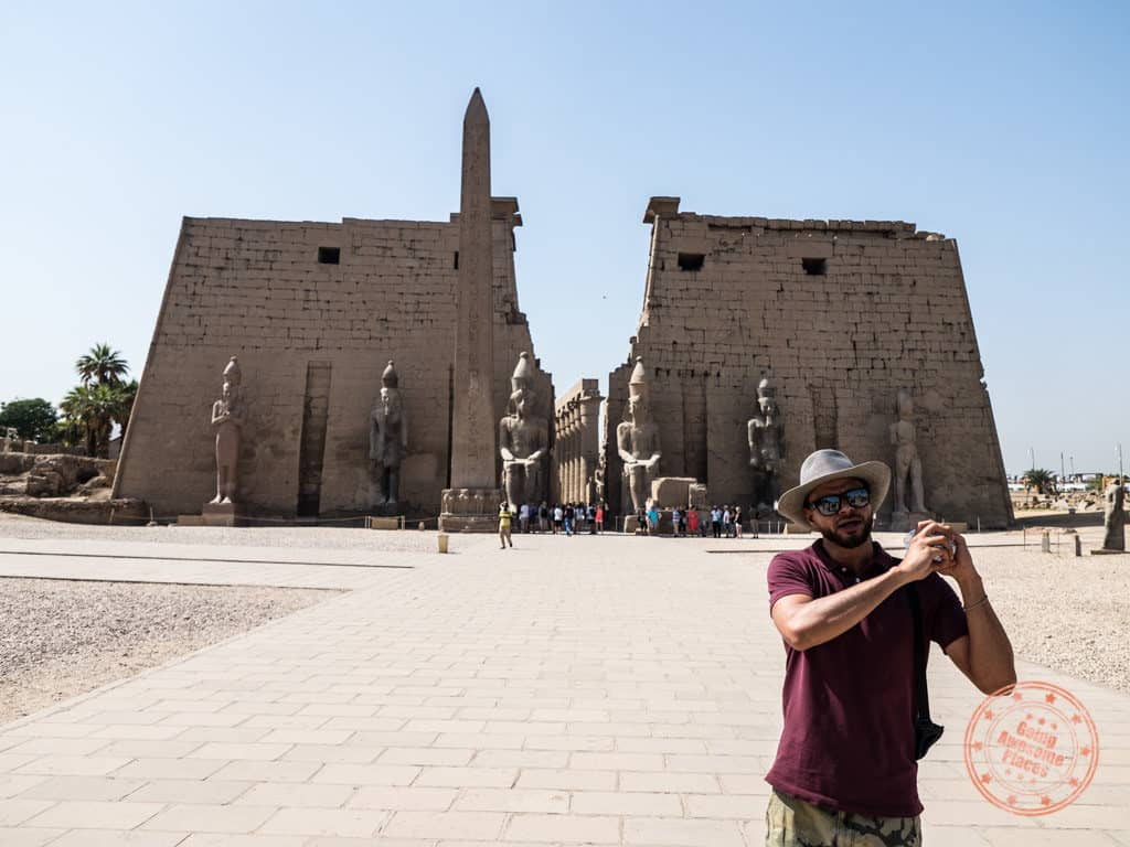 luxor temple front entrance with hamdi of djed egypt travel