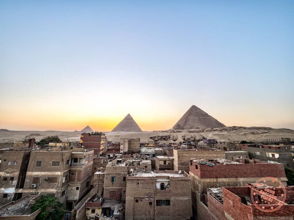pyramids comfort inn rooftop sunset view in cairo 3 day itinerary