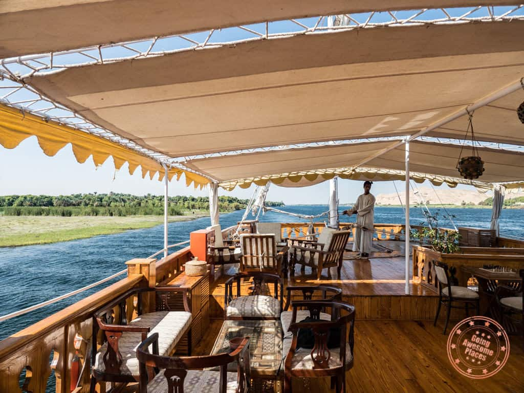 sailing nile in dahabiya cruise top deck in 10 day egypt itinerary