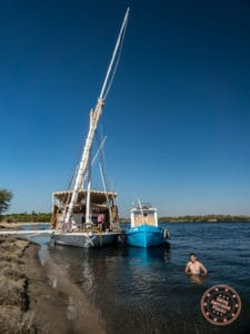 swimming in the nile river with dahabiya djed egypt travel activity