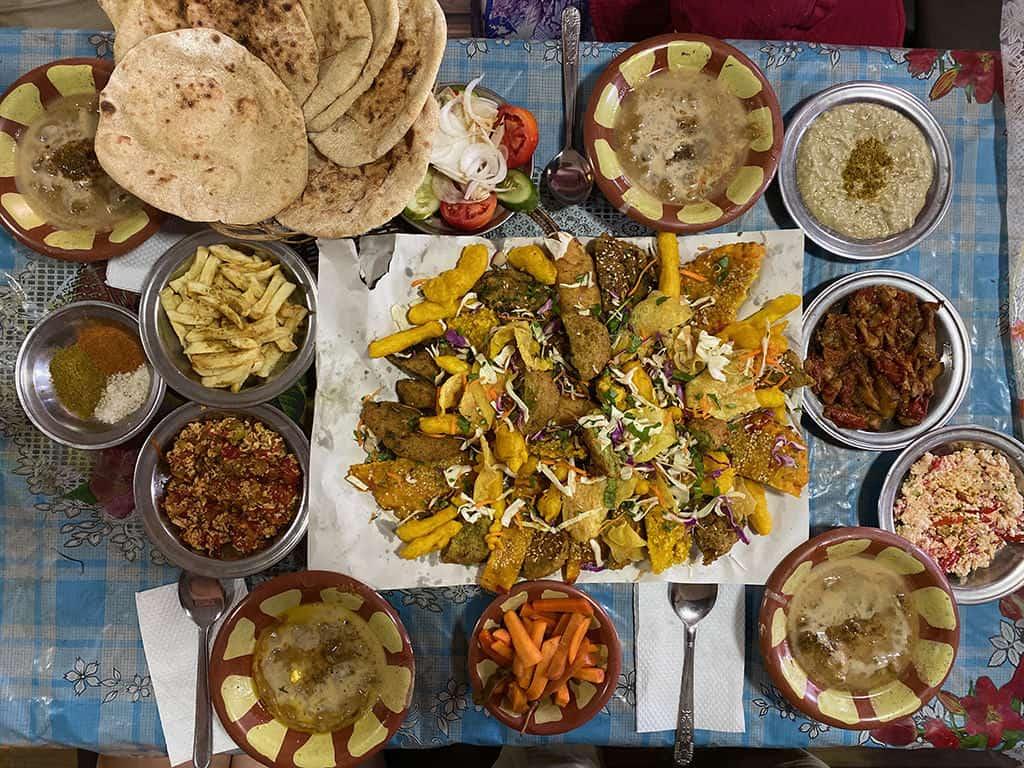 traditional egyptian breakfast spread