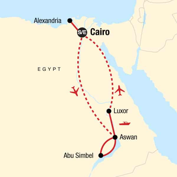 classic egypt gadventures upgraded itinerary map