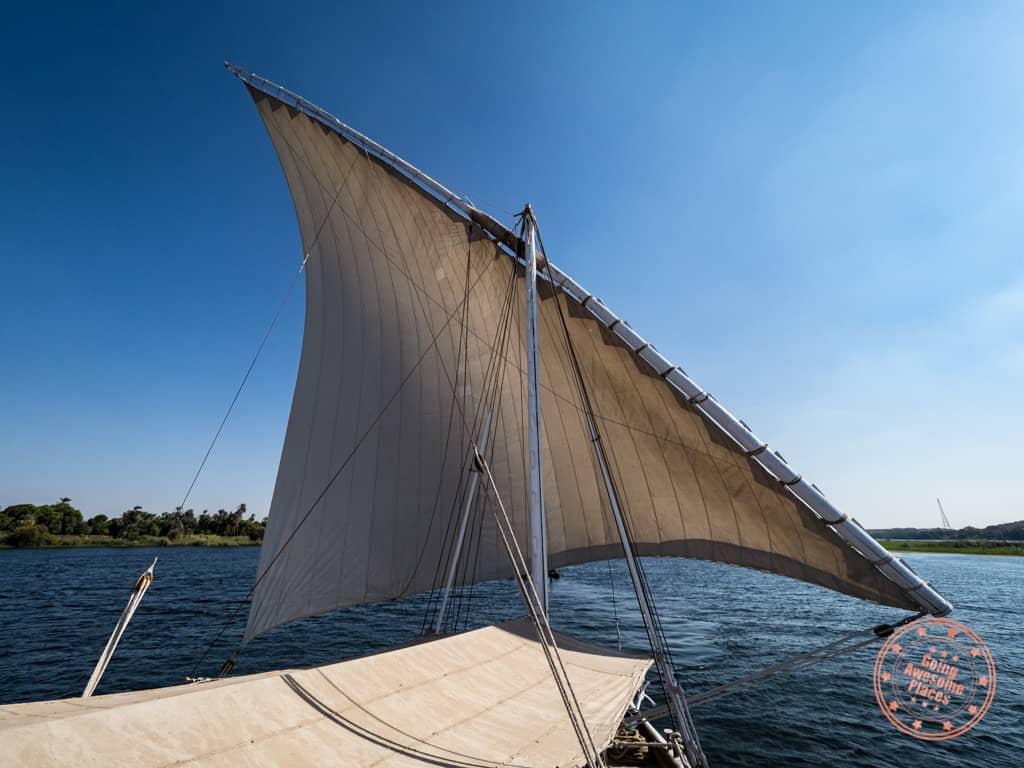 egypt nile cruise dahabiya sails open