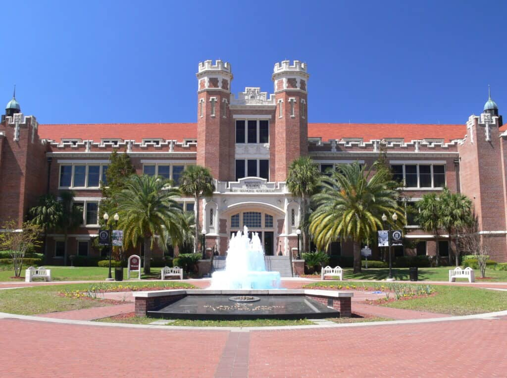 florida state university with fountain in front near tallahassee