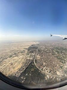giza pyramids view from window of plane
