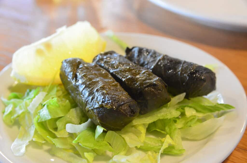plate of greek grape leaves from greek food festival