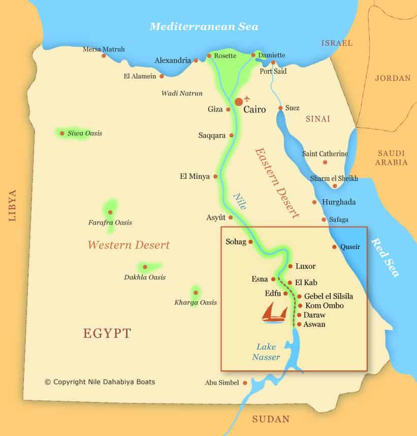 map of egypt geography and dahabiya nile cruise itinerary