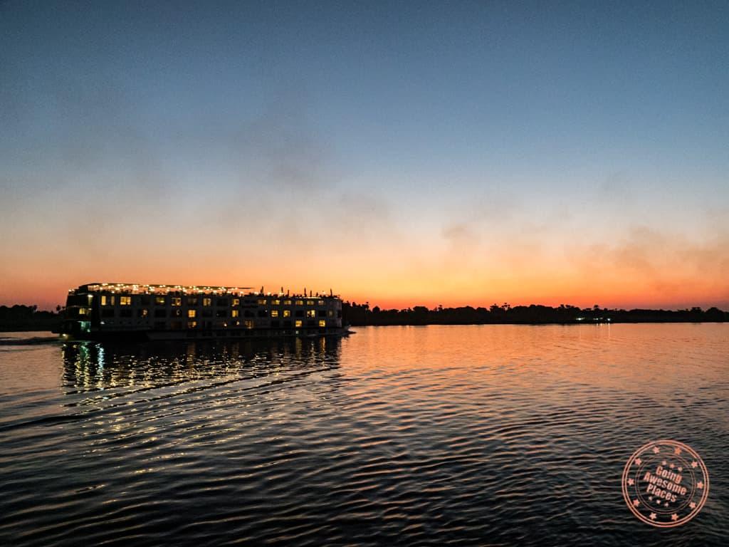 nile river cruise ship at sunset